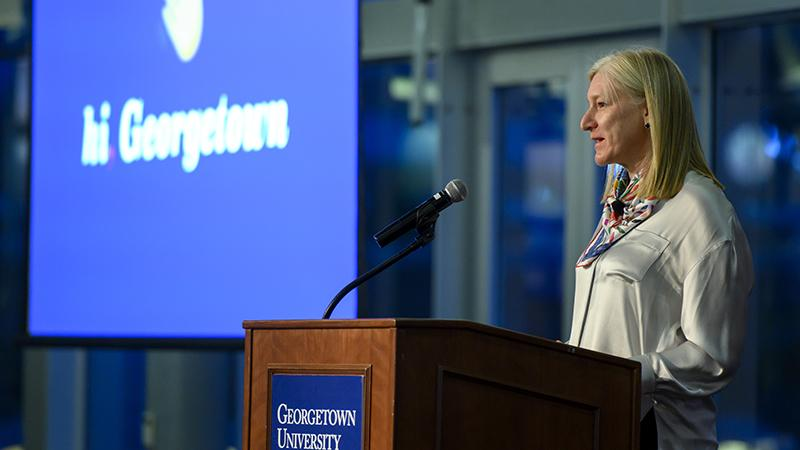 Old Navy CFO Katrina O'Connell speaks at Georgetown's McDonough School of Business