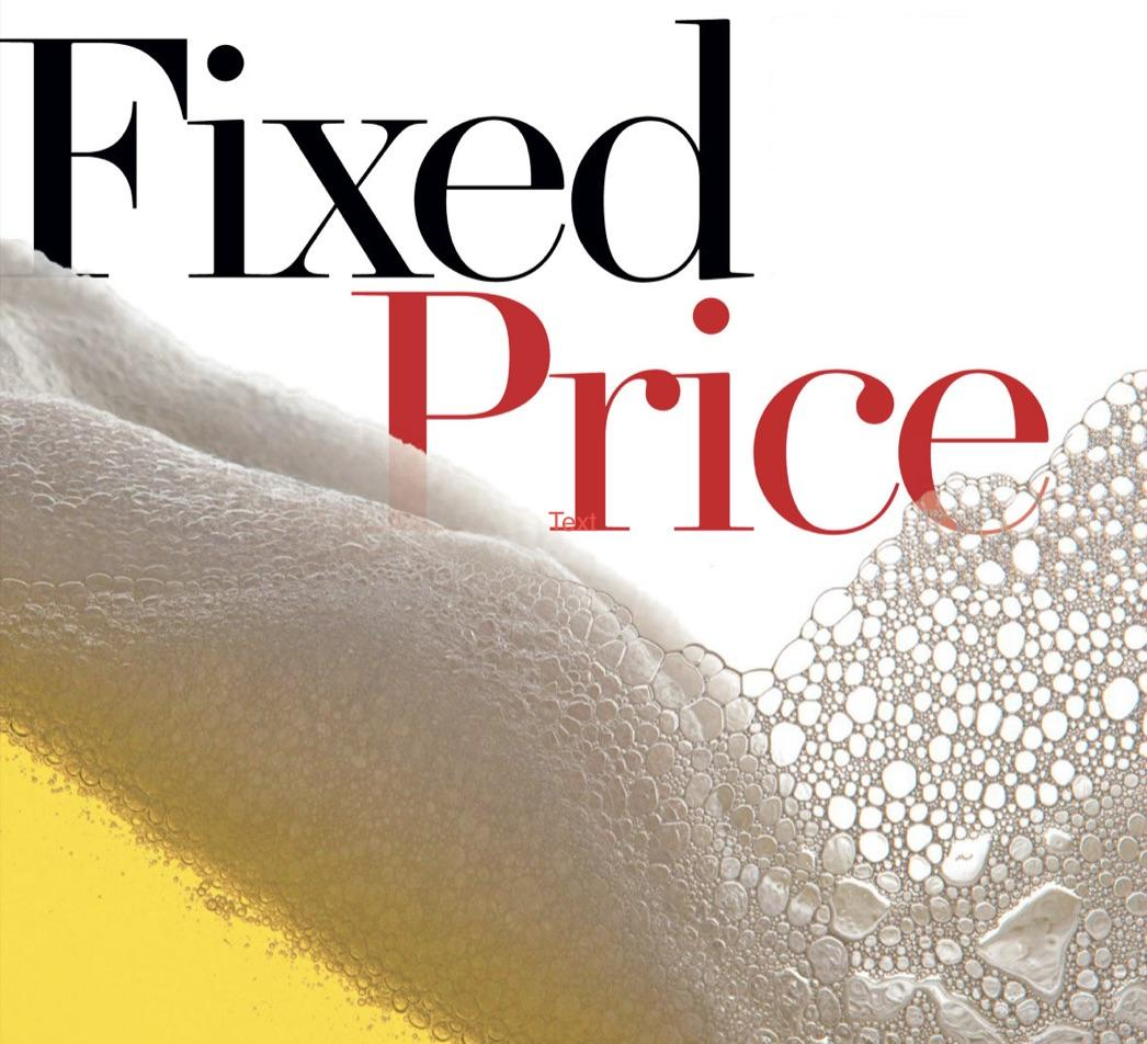 Fixed Price logo in beer
