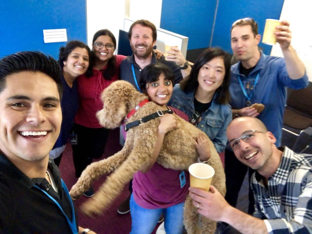 Intern Homero Soto (MBA'20) with his coworkers at Amazon