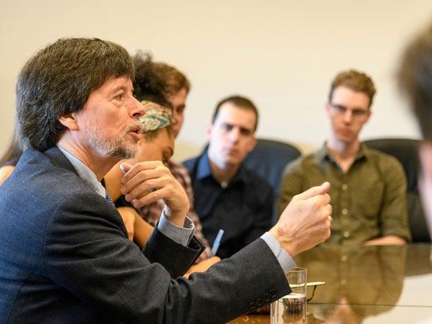 Ken Burns speaks with Georgetown University students