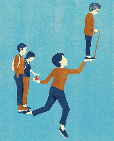 Balancing care for children and an aging parent, illustration by Dan Bejar