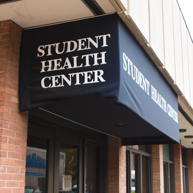Exterior of Student Health Center.