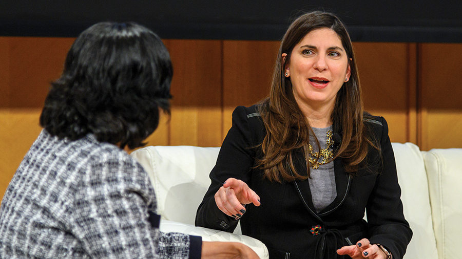 NYSE Group President Stacey Cunningham speaking with Professor Reena Aggarwal at the 2019 Financial Marktes Quality Conference