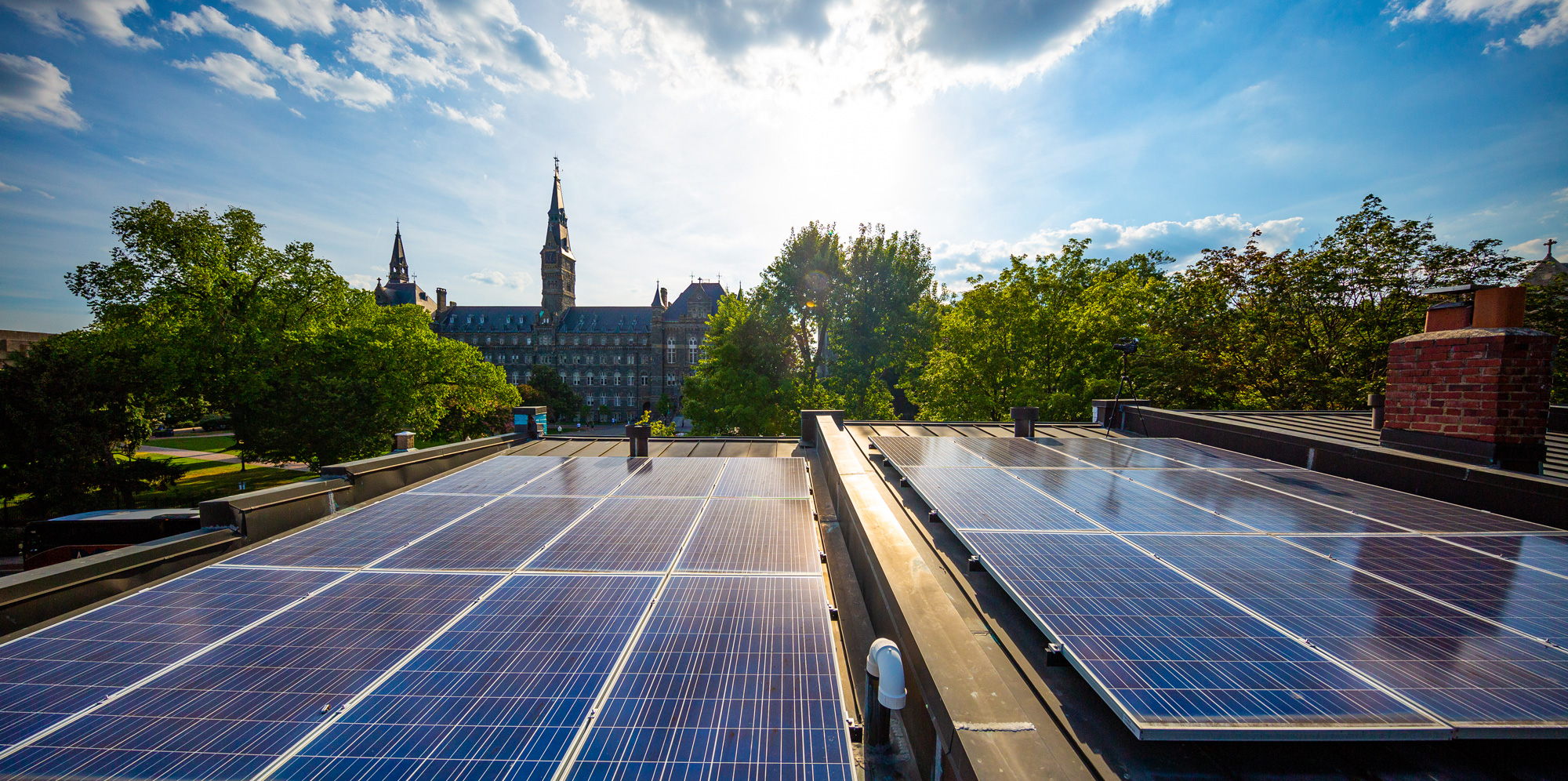 solar panels and georgetown campus in the distance