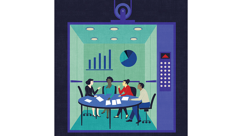 Illustration of three women and one man at conference table in elevator, going up