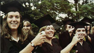 Women at a 1970s graduation ceremony.