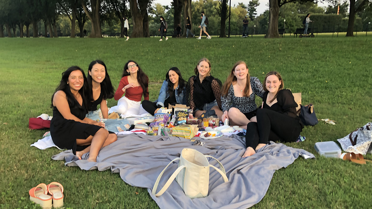 Rosie Cheng with her friends in the park.