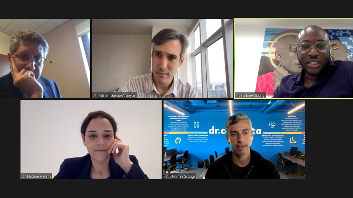 A screengrab from a zoom conference with the Global panel for the GBE.