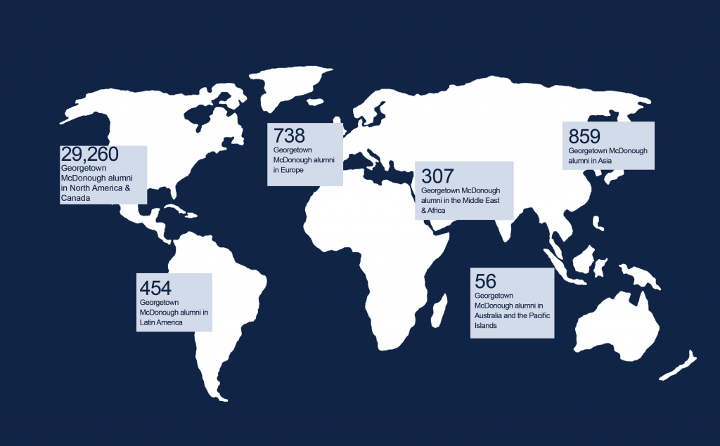 White world map on navy background. 29,260 alumni in North America, 454 alumni in Latin America, 738 alumni in Europe, 859 alumni in Asia, 307 alumni in Africa and the Middle East, and 56 alumni in Australia and the Pacific Islands