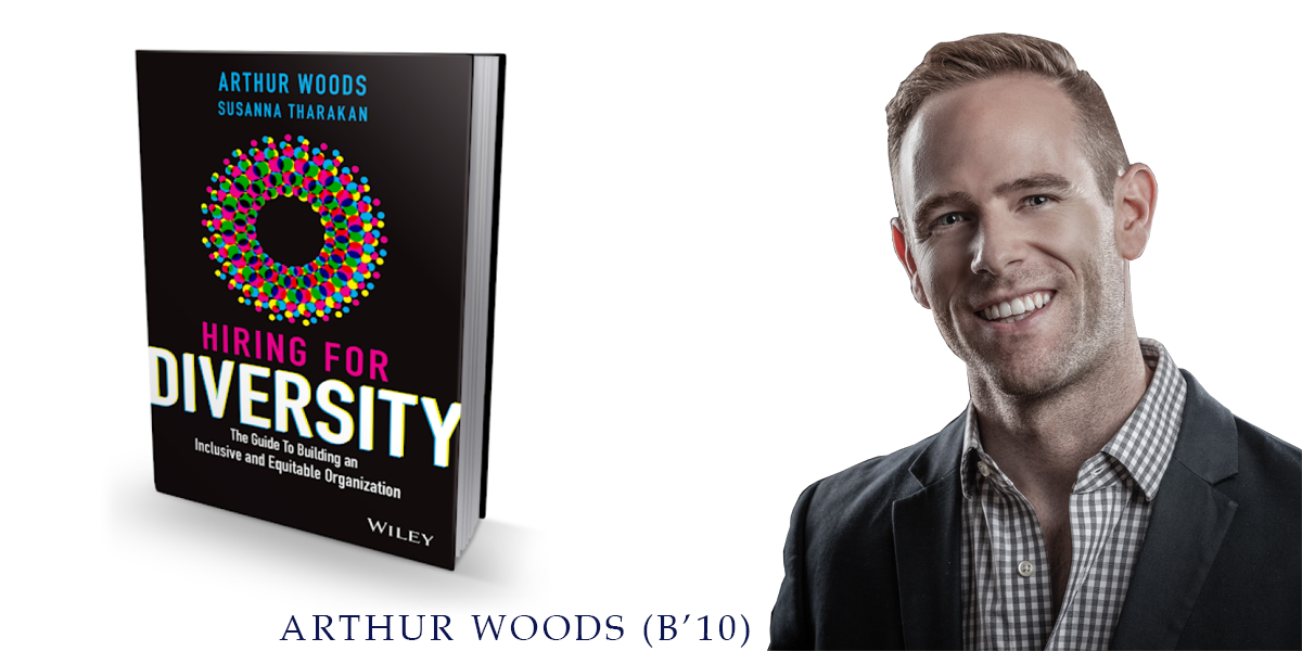"""Arthur Woods (B'10) with his book """"Hiring for Diversity"""""""